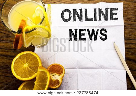 Conceptual Text Caption Showing Online News. Concept For Online Newspaper Article Written On Tissue