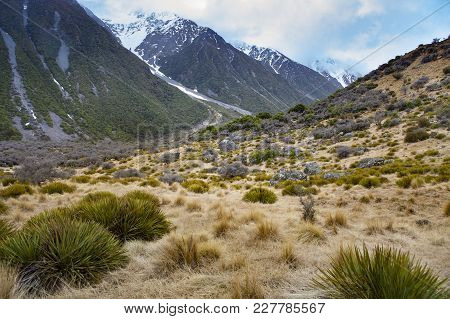 Natural Landscape Of Aoraki - Mt.cook National Park In Southland New Zealand