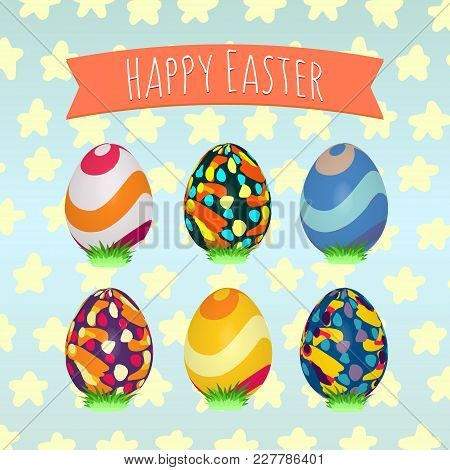 Easter Eggs Hand Painted. Colorful Holiday Patterns. Realistic Easter Eggs. 3d. Vector Background. S