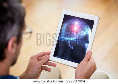 Digital composite of Man using tablet for science