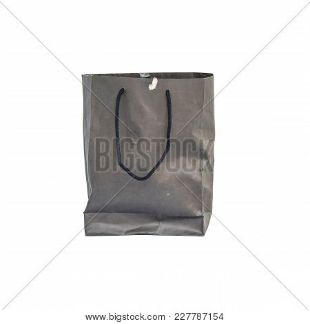 Closeup Old And Used Paper Bag Isolated On White Background