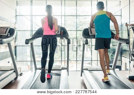 Full length rear view of a fit woman and her cardio workout, partner running on treadmills side by side during high-intensity interval training in a modern fitness club