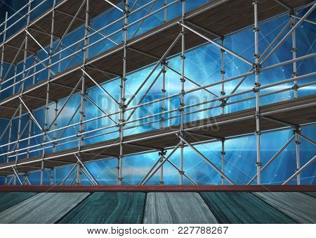 Digital composite of Technology vortex interface with shelf and 3D Scaffolding