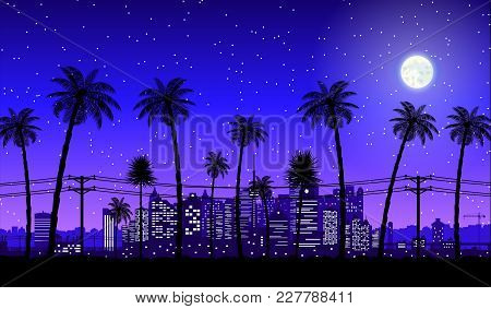 City Skyline Silhouette At Dusk. Skyscappers, Towers, Office And Residental Buildings. Cityscape Und
