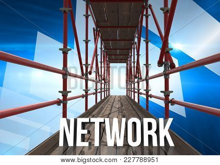 Digital composite of Network Text with 3D Scaffolding and technology interface