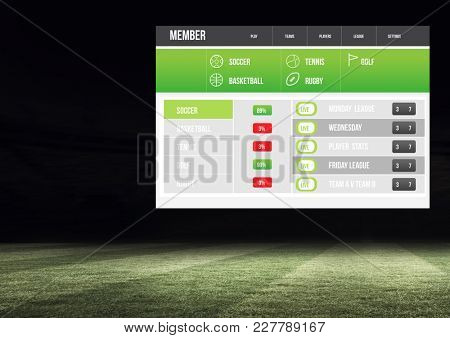 Digital composite of Betting App Interface stadium