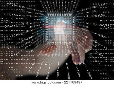 Digital composite of fingerprint scan, binary code