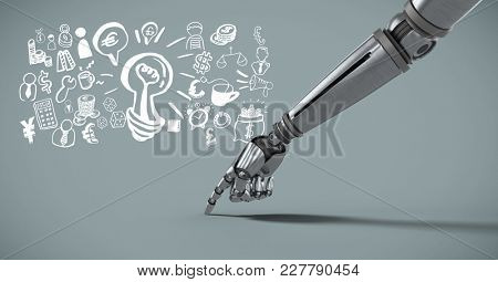 Digital composite of Android hand pointing with Business graphics drawings