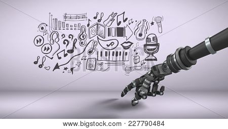 Digital composite of Android hand pointing and music graphic drawings