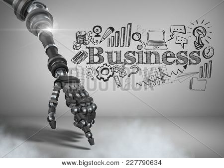 Digital composite of Android hand pointing and Businessman with business graphics drawings