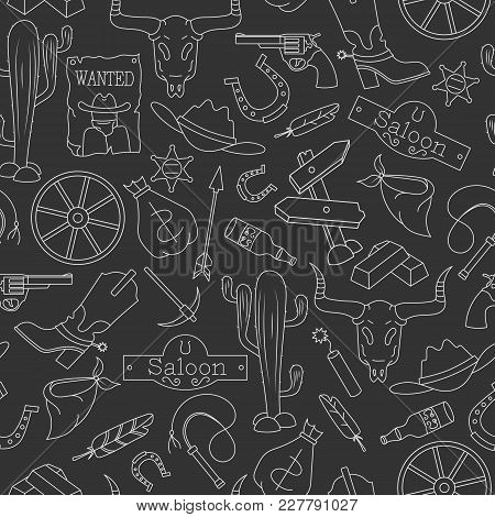 Seamless Pattern On The Theme Of The Wild West, Contour Icons, White Contour On  A Dark Background
