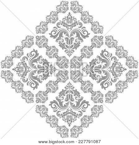 Oriental Silver Square Pattern With Arabesques And Floral Elements. Traditional Classic Ornament. Vi
