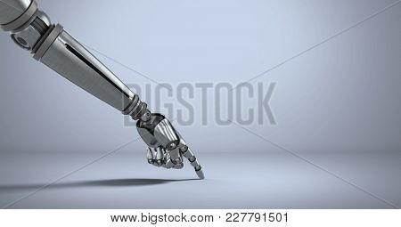 Digital composite of Android Robot hand pointing with purple background
