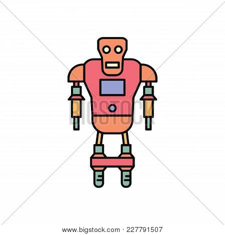 Robot Icon In Cartoon Color Style. Vector Illustration With Technical Toy Robot Robot On White Backg