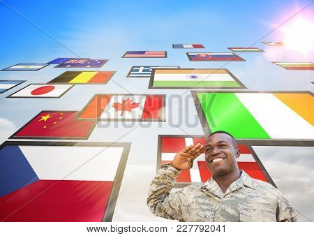 Digital composite of panel with flags in the sky, and soldier