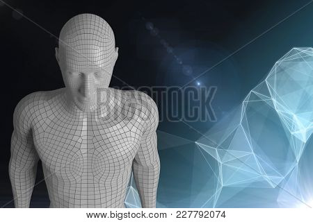 Digital composite of 3D white male AI against dark background with digital cloud
