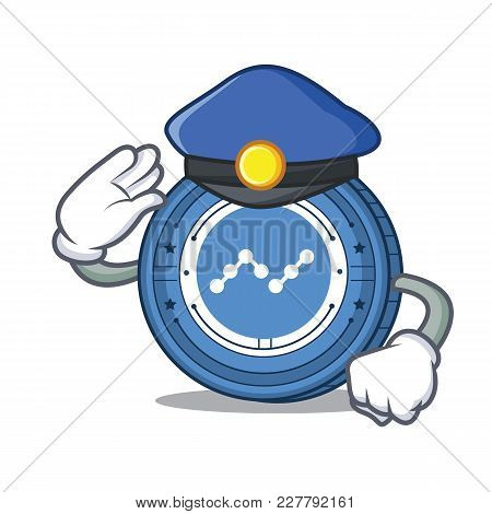 Police Nano Coin Character Cartoon Vector Illustration