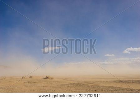 Sand Desert In Wind Storm