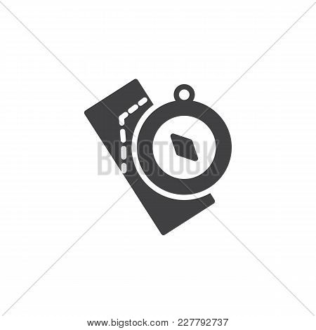 Compass And Map Vector Icon. Filled Flat Sign For Mobile Concept And Web Design. Nautical Compass Si