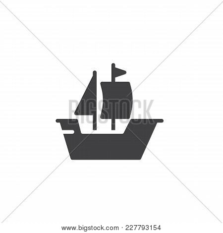 Sailing Ship Boat Vector Icon. Filled Flat Sign For Mobile Concept And Web Design. Old Sailboat Simp