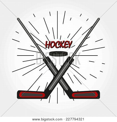 Hockey Crossed Sticks And Puck. Vector Hockey Symbol With Goalie Sticks And Puck. Logo.