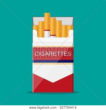Cigarettes Open Pack. Vector Illustration In Flat Style