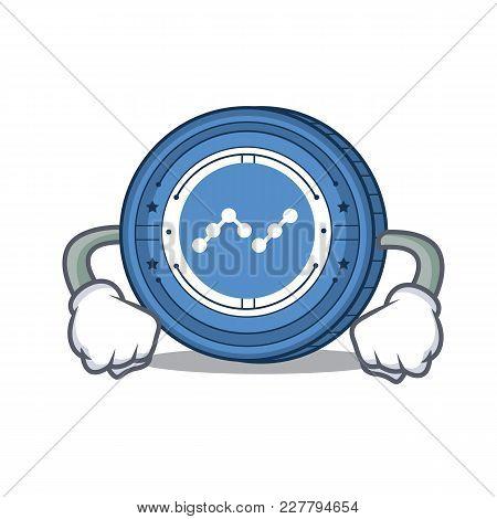 Angry Nano Coin Mascot Cartoon Vector Illustration