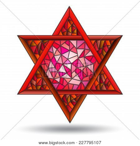 The Six-pointed Red Star In The Stained Glass Style On White Background Isolate