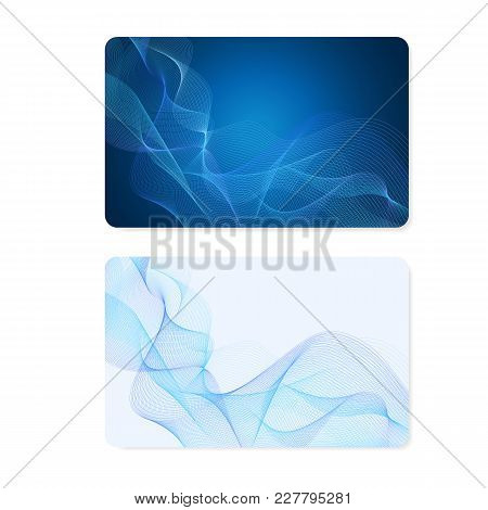 Business Card, Gift Card, Coupon, (discount Voucher) With Guilloche Pattern (blue Lines, Watermark T