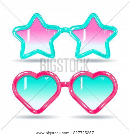 Vector Illustration, Graphic Design Sunglasses In Disco Style, Color Glasses Pink And Light Blue In