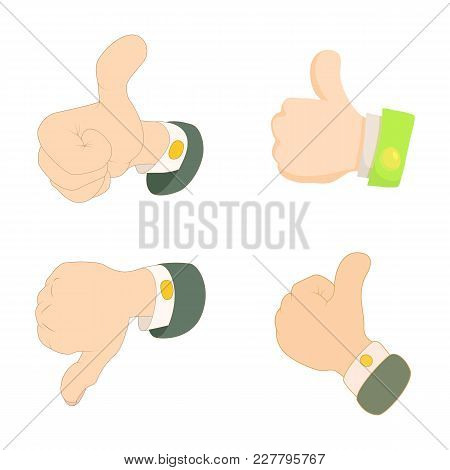 Thumb Up, Down Icon Set. Cartoon Set Of Thumb Up, Down Vector Icons For Web Design Isolated On White