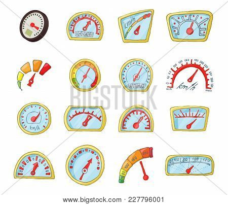 Dash Board Icon Set. Cartoon Set Of Dash Board Vector Icons For Web Design Isolated On White Backgro