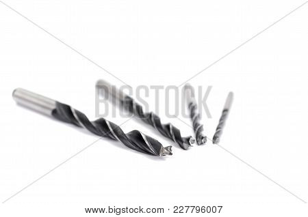 Wood Drilling Bits, Woodworking, Drilling Hole In Wood Concept, Isolated On White Background.