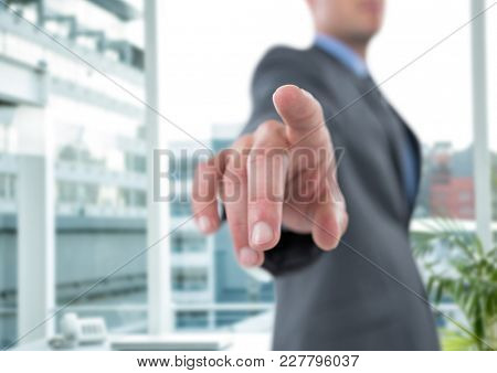 Digital composite of Composite image of smiling businessman standing