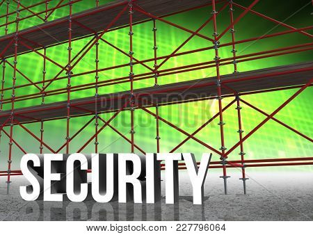 Digital composite of Security Text with 3D Scaffolding and illuminated grid