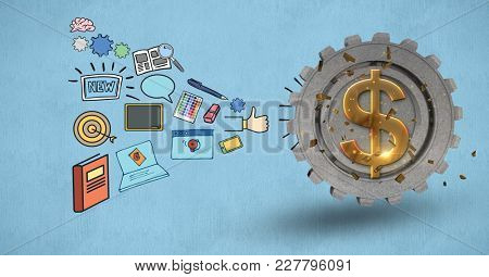 Digital composite of Composite image of draw and dollar