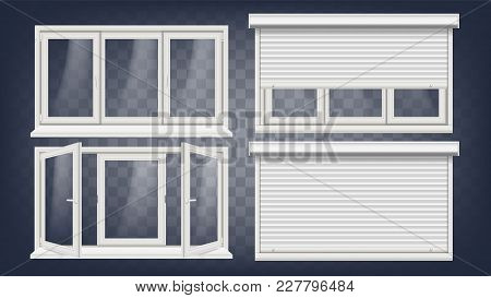 Plastic Window Vector. White Metallic Roller Shutter. Pvc Windows. Plastic White Window Frame. Isola