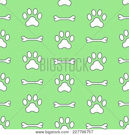 Seamless Vector Pattern Of Dog Paws And Bone. Pawprints. Animal Footprint Background.