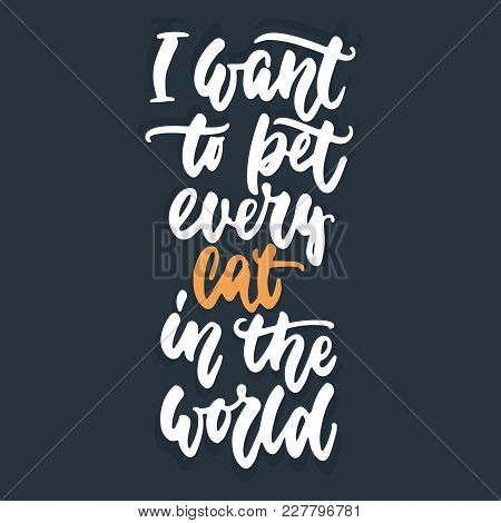I Want To Pet Every Cat In The World - Hand Drawn Lettering Phrase For Animal Lovers On The Dark Blu