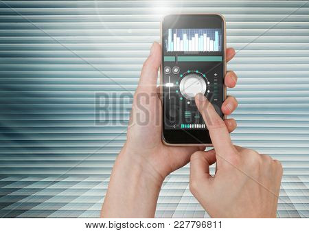 Digital composite of Hand Touching Mobile phone with Sound Music and Audio production engineering equalizer App Interface