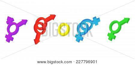 Gender Sign Icon Set. Cartoon Set Of Gender Sign Vector Icons For Web Design Isolated On White Backg