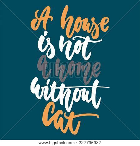 A House Is Not A Home Without Cat - Hand Drawn Lettering Phrase For Animal Lovers On The Dark Blue B