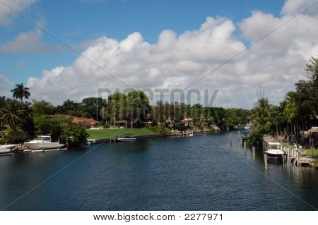 Residential Canal In Miami