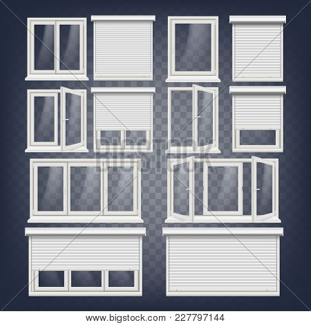 Pvc Window Vector. Rolling Shutters. Opened And Closed. Front View. Open Plastic Glass Window. Isola