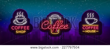 Set Of Vector Coffee Elements And Accessories For Coffee. Coffee Logos, Emblems In Neon Style, Noy A