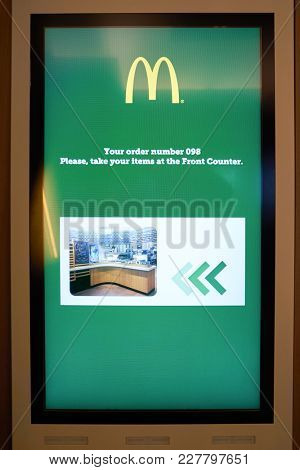 ROME, ITALY - CIRCA NOVEMBER, 2017: close up shot of a self ordering kiosk at McDonald's restaurant in Rome.
