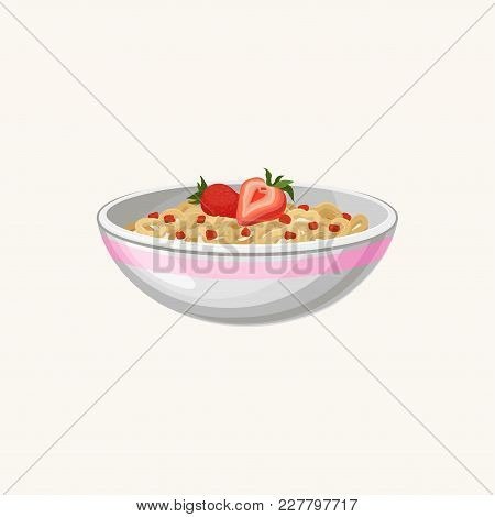 Bowl Of Corn Flakes Rings With Milk And Strawberry. Delicious Food. Appetizing Breakfast. Fast Food.