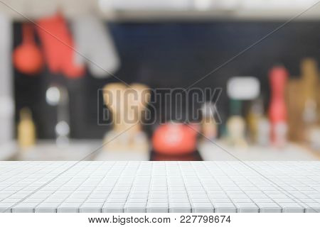 Empty White Ceramic Mosaic Tile Table Top And Blurred Kitchen Interior Background - Can Used For Dis