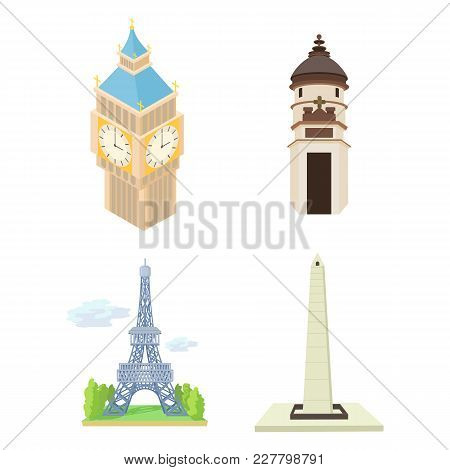 Hystorical Tower Icon Set. Cartoon Set Of Hystorical Tower Vector Icons For Web Design Isolated On W