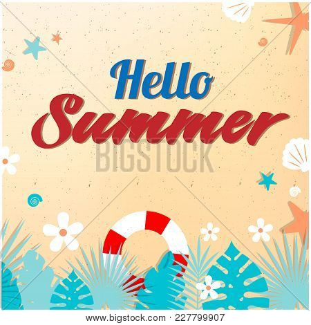 Hello Summer Sand Starfish Life Ring Shell Background  Vector Image